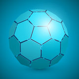 Abstract soccer 3d ball blue Stock Image