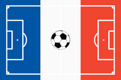 Abstract soccer field with frace national colors. Abstract soccer field with white marks and france national colors background Stock Photography