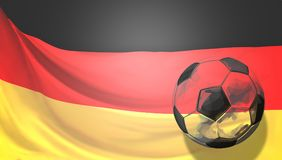 Abstract soccer football ball front of german flag. Germany ball Royalty Free Stock Image