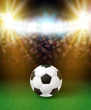Abstract soccer football poster. Stadium background with bright. Spotlights and realistic soccer football ball. Vector illustration Royalty Free Stock Photography