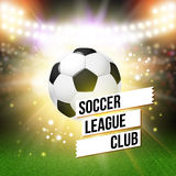 Abstract soccer football poster. Stadium background with bright. Spotlights and realistic soccer football ball. Vector illustration Stock Image