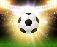 Abstract soccer football poster. Stadium background with bright. Spotlights and realistic soccer football ball. Vector illustration Royalty Free Stock Photos