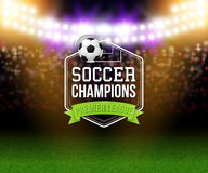 Abstract soccer football poster. Stadium background with bright. Spotlights, typography design and realistic soccer football ball. Vector illustration Royalty Free Stock Photo