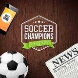 Abstract soccer football poster. Vector illustration. Abstract soccer football poster with typography design Stock Photos