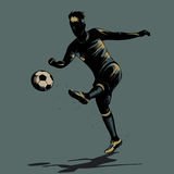 Abstract soccer half volley. Abstract soccer player half volley shooting ball Royalty Free Stock Images