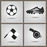 Abstract soccer icons set on gray gradient background. Abstract soccer icons set with dropped shadow on gray gradient background Vector Illustration