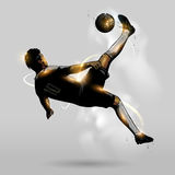 Abstract soccer overhead kick. Abstract soccer player overhead kick in the air Royalty Free Stock Photo