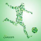 Abstract soccer player. From dots kicking the ball vector illustration