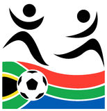 Abstract soccer player and football. Vector illustration with soccer ball over South African flag and abstract soccer player Stock Images