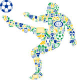 Abstract soccer player. Abstract illustration of soccer of football player filled from sport themed icons, white background Royalty Free Stock Images