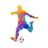 Ball, soccer, player. Abstract soccer player quick shooting a ball from splash of watercolors. Vector illustration of paints stock illustration