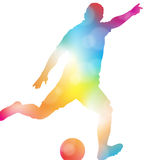 Abstract Soccer Player Scoring in Beautiful Summer Haze. Royalty Free Stock Photo