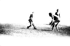 Abstract Soccer Players. Black and white outline of abstract children soccer players Royalty Free Stock Image