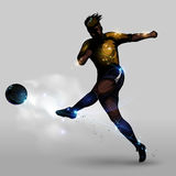 Abstract soccer power shooting. Abstract silhouette soccer player power shooting a soccer ball Royalty Free Stock Image
