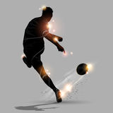 Abstract soccer speed shoot. Ing a soccer ball Royalty Free Stock Images