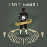 Abstract soccer stadium. Abstract soccer tournament with soccer player and stadium Royalty Free Stock Images