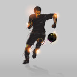 Abstract soccer striker. Shooting soccer ball with gray background Royalty Free Stock Image
