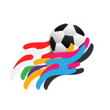 Abstract soccer template. Abstract soccer background. soccer with colorful stripe wave meaning is `the sport for everyone vector illustration