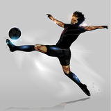 Abstract soccer touching ball. Abstract soccer player speed to touching soccer ball Stock Photo