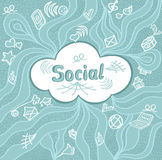 Abstract social cloud in doodle style on blue background Stock Photo