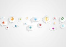 Abstract social communication icons background Stock Photos