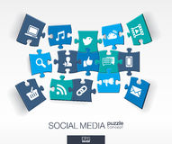 Abstract social media background with connected color puzzles, integrated flat icons. 3d infographic concept with network. Computer, technology, pieces in Royalty Free Stock Image
