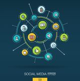Abstract Social Media background. Digital connect system with integrated circles, flat thin line icons. Vector. Abstract Social Media background. Digital connect Stock Images