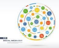 Abstract Social Media background. Digital connect system with integrated circles, glowing thin line icons. Stock Image