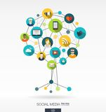 Abstract social media background. Growth tree concept Stock Photography