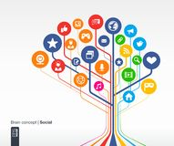 Abstract social media background with lines and circles. Brain concept Stock Photography