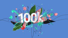 Abstract social media composition. Abstract colorful composition with word 100k and strange shapes and objects, high resolution 3D render Royalty Free Stock Images