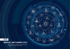 Abstract social network background. Digital connect system with integrated circles, glowing thin line icons. Virtual Stock Images