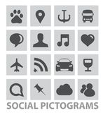 Abstract Social Pictograms Symbols Set Isolated Stock Image