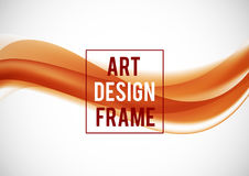 Abstract soft art design template. With orange elegant light waves in dynamic style on white background. Vector illustration stock illustration