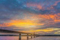 Abstract soft blurred and soft focus silhouette sunrise with the beautiful sky in the morning at Thailand, Laos friendship bridge Royalty Free Stock Photos