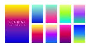 Abstract soft color gradient backgrounds and texture for mobile applications and smartphone screen. Vivid design element. Vector. Abstract set of modern bright Royalty Free Stock Photo