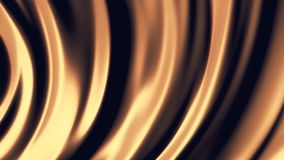 Abstract, soft, curved wide lines move in a circle in golden glowing, seamless loop. Close up for abstract, orange vector illustration