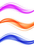 Abstract soft elegant wavy lines set. In blue orange purple colors and smooth dynamic light style. Vector illustration vector illustration