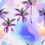 Abstract soft gradient blur, colorful fluid and geometric shapes, watercolor palm drawing. vector illustration