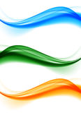Abstract soft wavy elegant lines set. In blue orange green colors and smooth bright dynamic style. Vector illustration stock illustration