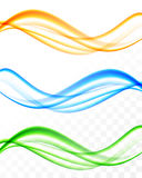 Abstract soft wavy light lines set. In blue orange green colors and smooth dynamic elegant style on transparent background. Vector illustration stock illustration