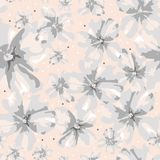 Abstract softness ornate gray flowers on coral background. vector illustration