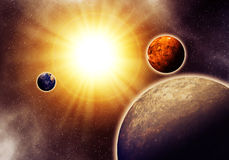 Abstract solar system. An abstract space looks like solar system Royalty Free Stock Photo
