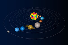 Abstract Solar System with Planets. 3d Rendering Stock Photography