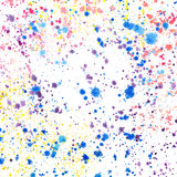 Abstract sophisticated wonderful gorgeous elegant graphic beautiful colorful red yellow violet green and blue splashes and drops o. F watercolor hand royalty free illustration