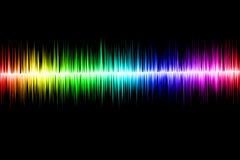 Abstract sound wave. Sound wave in rainbow colors on the black background Royalty Free Stock Image