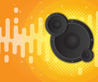Abstract sound wave with speaker and halftone background. Vector illustration Royalty Free Stock Image
