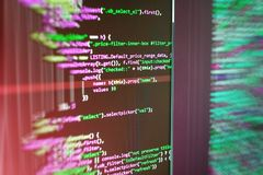 Abstract source code background. Monitor closeup of function source code. Mobile app developer. Server logs analysis stock photography