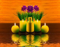 Abstract spa concept with flower, candle, water, spa product Stock Photo