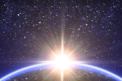 Abstract space background. Big star and planet in the starry space Royalty Free Stock Photo